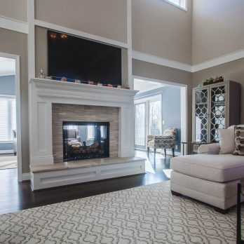 Living room and fireplace that is part of the White Oak addition and renovation job gallery